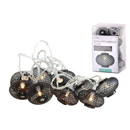 Ghirlandă luminoasă 10 leduri,cu baterie, Urban Living, 2 m, neagră