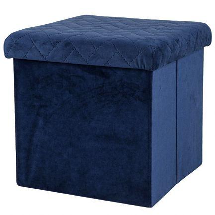 Taburet pliabil din velur, Urban Living, 37.5x37.5x37.5 cm, albastru