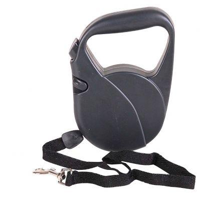 Lesă retractabilă automată pentru câini, Dogi, 5 m, neagră
