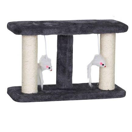 Ansamblu de joacă pentru pisici cu doi șoricei, Kats, 35x15x22 cm, gri