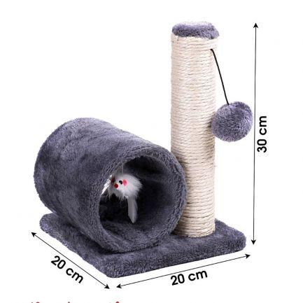 Ansamblu de joacă pentru pisici cu ghem și șoricel, Kats, 20x20x30 cm, gri