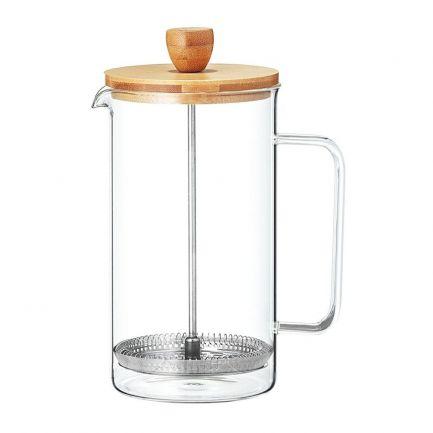 Filtru din sticlă cu capac din lemn pentru ceai sau cafea, 350 ml