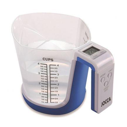 Cană gradată și cântar digital CupScale Cooking, albastră