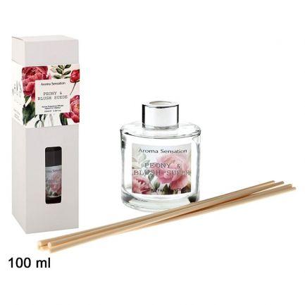 Odorizant de cameră cu bețișoare, aromă de bujor și blush suede, Home Lights, 100 ml, alb