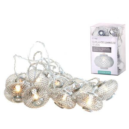 Ghirlandă luminoasă 10 leduri,cu baterie, Urban Living, 2 m, argintie