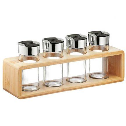 Set condimente: 4 recipiente din sticlă cu suport din bambus