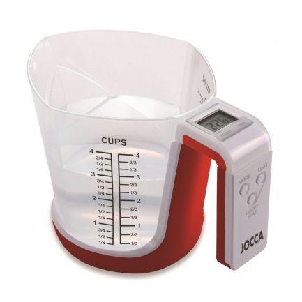 Cană gradată și cântar digital CupScale Cooking, roșie