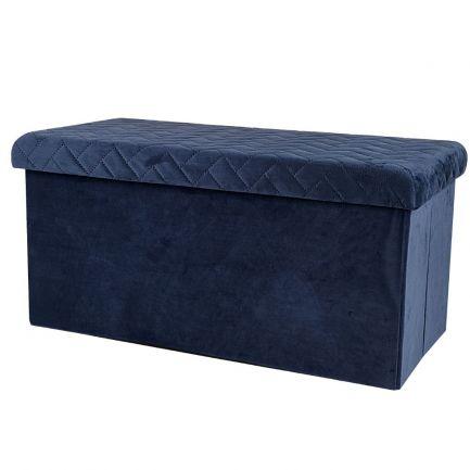 Taburet pliabil din velur, Urban Living, 76x37.5x37.5 cm, albastru
