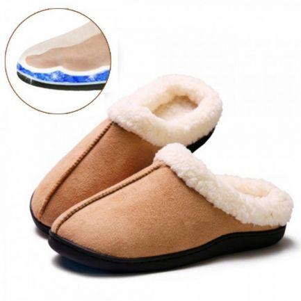 Papuci de casă cu talpă din gel relaxant Confort Gel Premium, maro