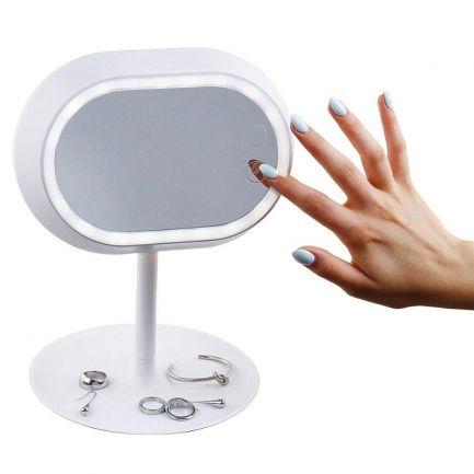 Oglindă cosmetică cu picior Domoclip, iluminată LED, cu efect de lupă
