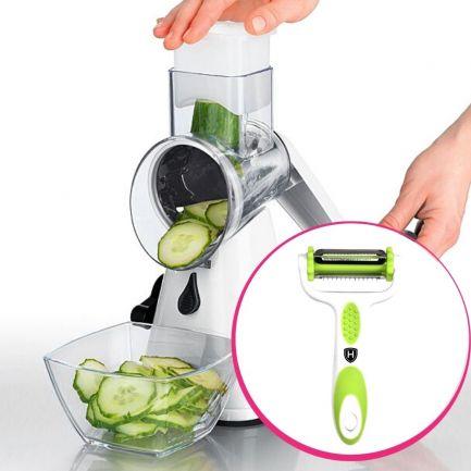 Pachet avantajos: Răzătoare Spin Slicer + Accesoriu 3 în 1 Home Vero