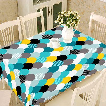 Față de masă model geometric 100x140cm, 100% bumbac, albastru