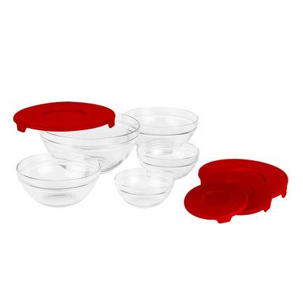 Set 5 boluri de sticlă, capace rosii