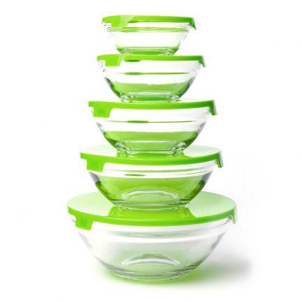 Set 5 boluri din sticlă, capace verzi