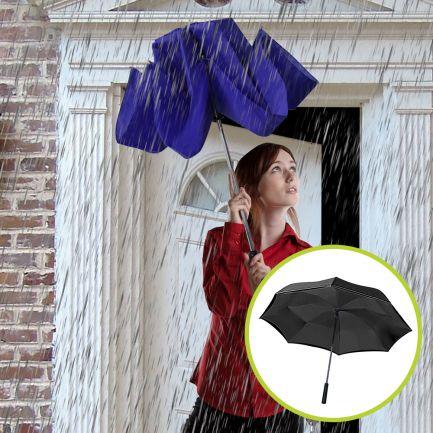 Set umbrele reversibile Wonderdry: umbrelă automată, lungă, albastră și umbrelă compactă, neagră CADOU