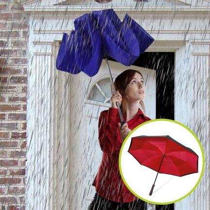 Set umbrele reversibile Wonderdry: umbrelă automată, lungă, albastră și umbrelă compactă, roșie CADOU