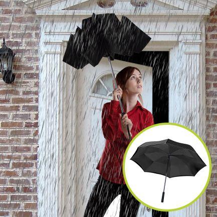 Set umbrele reversibile Wonderdry: umbrelă automată, lungă, neagră și umbrelă compactă, neagră CADOU
