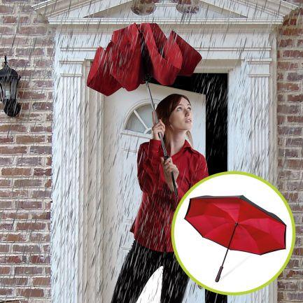 Set umbrele reversibile Wonderdry: umbrelă automată, lungă, roșie și umbrelă compactă, roșie CADOU