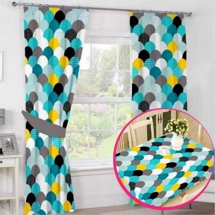 Pachet avantajos: Set 2 draperii + Față de masă, model geometric