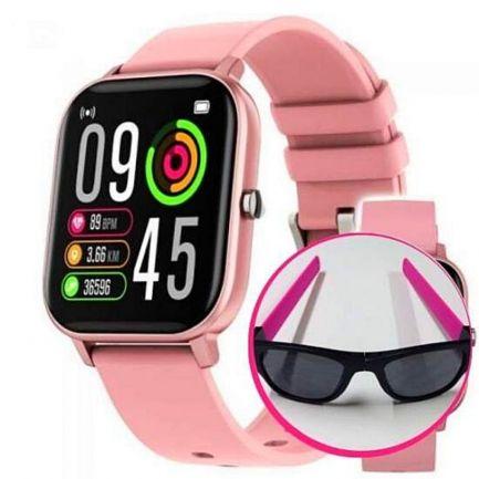 Pachet avantajos: Ceas Wellness Smart Pro, roz + Ochelari de soare flexibili Clix, roz, CADOU