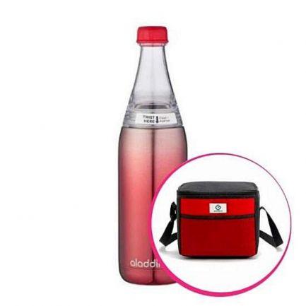 Pachet avantajos: Sticlă inox cu sistem de răcire, 0.6 L + Geantă Frigorifică Termoizolantă, 9 L