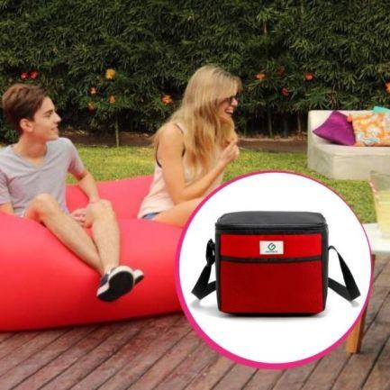 Pachet avantajos: Saltea gonflabilă Air Chair roșie + Geantă Frigorifică Termoizolantă 9 L