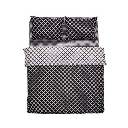 Lenjerie dublă model geometric, 4 piese, 100% bumbac, alb-negru