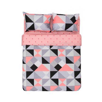 Lenjerie King Size model geometric, 4 piese, 100% bumbac, roz