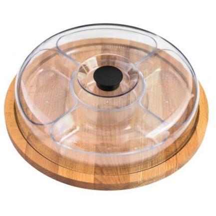 Platou rotund din lemn cu capac din plastic