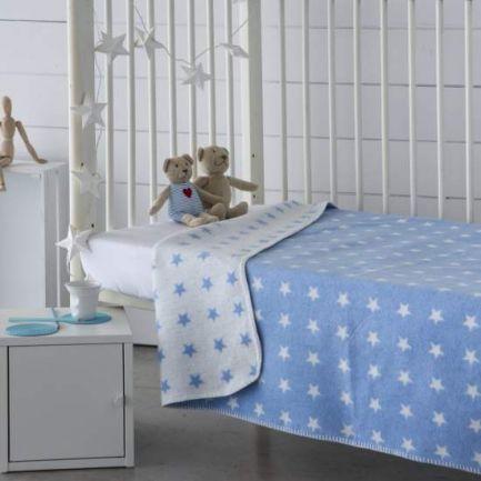 Pătură catifelată, 150x200cm, bleu cu steluțe