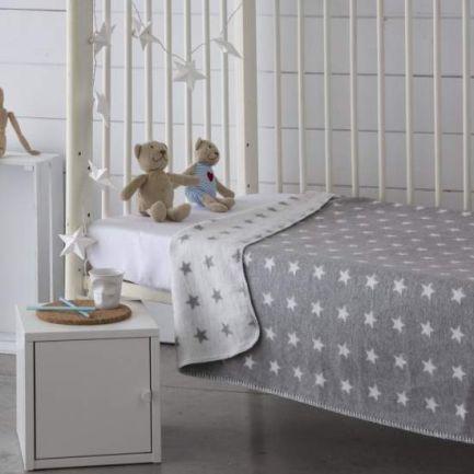 Pătură catifelată, 150x200cm, gri cu steluțe