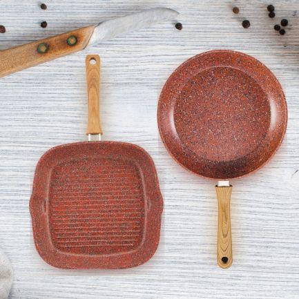 Set tigaie și grill Regis Stone Copper HomeGrill, antiaderente, cu particule de piatră și cupru, 28cm
