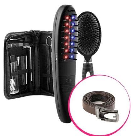 Pachet avantajos: Aparat pentru prevenirea căderii părului + Curea ajustabilă Slimmax, maro