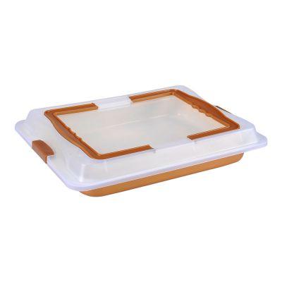 Tavă de copt cu particule de marmură, cu capac de plastic