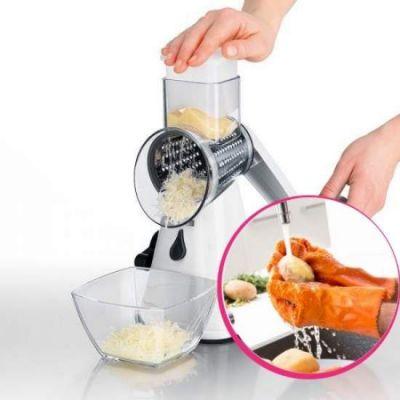 Pachet avantajos: Răzătoare multifuncțională Spin Slicer + Mănuși abrazive