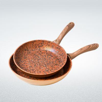 Set 2 tigăi Regis Stone Copper Maestro, antiaderente, cu particule de piatră și cupru, 24cm și 28cm