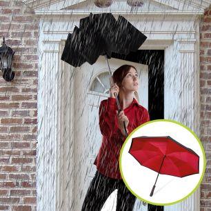 Set umbrele reversibile Wonderdry: umbrelă automată, lungă, neagră și umbrelă compactă, roșie CADOU